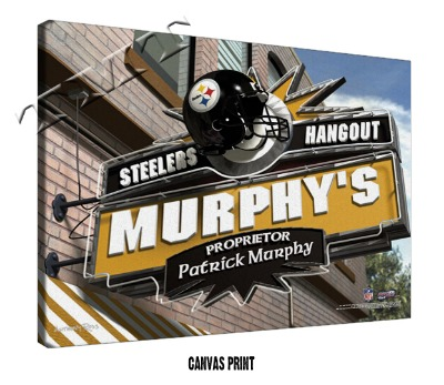 Personalized Pittsburgh Steelers NFL Sports Room Pub Sign - Canvas Mounted PrintPersonalized Pittsburgh Steelers NFL Spo