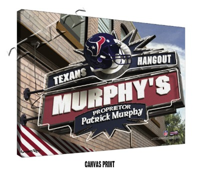 Personalized Houston Texans NFL Sports Room Pub Sign - Canvas Mounted Print