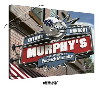 Personalized Tennessee Titans NFL Sports Room Pub Sign - Canvas Mounted Print