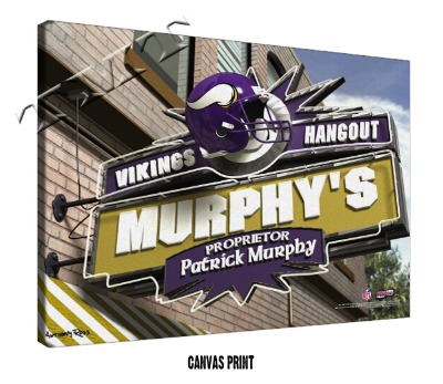 Personalized Minnesota Vikings NFL Sports Room Pub Sign - Canvas Mounted Print