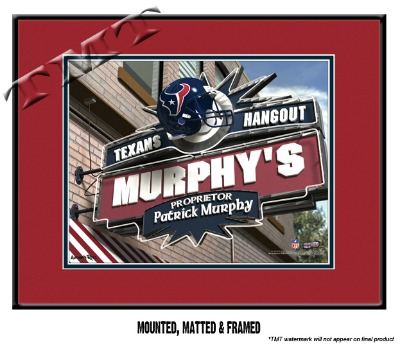 Personalized Houston Texans NFL Sports Room Pub Sign - Matted Framed Print