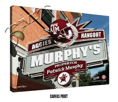 Personalized Texas A&M Aggies NCAA Football Sports Room Pub Sign - Canvas Mounted Print