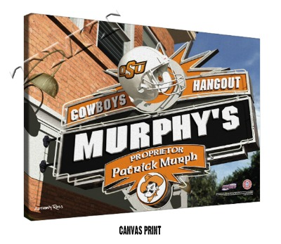 Personalized Oklahoma State Cowboys NCAA Football Sports Room Pub Sign - Canvas Mounted Print