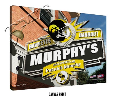 Personalized Iowa Hawkeyes NCAA Football Sports Room Pub Sign - Canvas Mounted Print