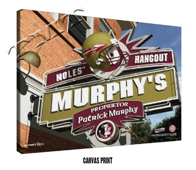 Personalized Florida State Seminoles NCAA Football Sports Room Pub Sign - Canvas Mounted Print