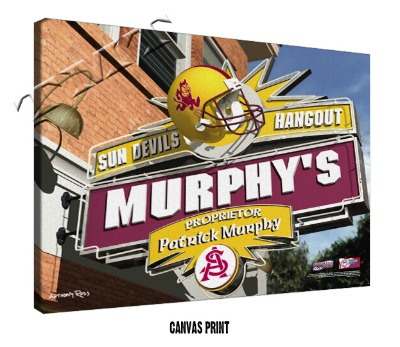 Personalized Arizona State Sun Devils NCAA Football Sports Room Pub Sign - Canvas Mounted Print