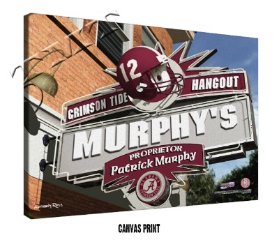 Personalized Alabama Crimson Tide NCAA Football Sports Room Pub Sign - Canvas Mounted Print