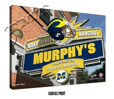 Personalized Michigan Wolverines NCAA Football Sports Room Pub Sign - Canvas Mounted Print