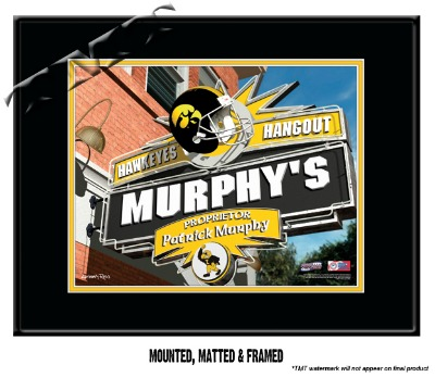 Personalized Iowa Hawkeyes NCAA Football Sports Room Pub Sign - Matted Framed Print