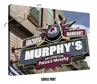Personalized Colorado Avalanche NHL Sports Room Pub Sign - Canvas Mounted Print