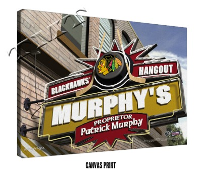 Personalized Chicago Blackhawks NHL Sports Room Pub Sign - Canvas Mounted Print