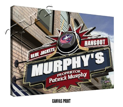 Personalized Columbus Blue Jackets NHL Sports Room Pub Sign - Canvas Mounted Print