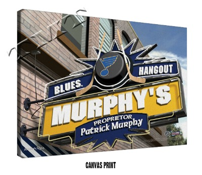 Personalized St Louis Blues NHL Sports Room Pub Sign - Canvas Mounted Print