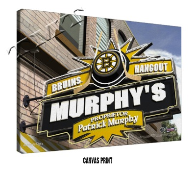 Personalized Boston Bruins NHL Sports Room Pub Sign - Canvas Mounted Print
