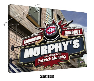 Personalized Montreal Canadiens NHL Sports Room Pub Sign - Canvas Mounted Print