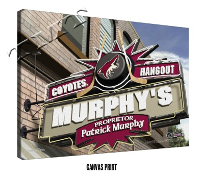 Personalized Phoenix Coyotes NHL Sports Room Pub Sign - Canvas Mounted Print
