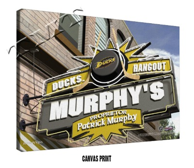 Personalized Anaheim Ducks NHL Sports Room Pub Sign - Canvas Mounted Print