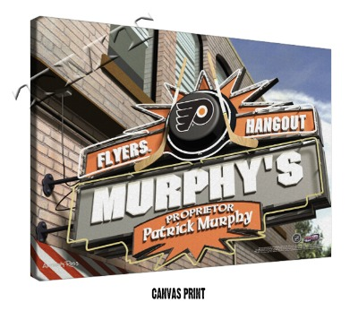 Personalized Philadelphia Flyers NHL Sports Room Pub Sign - Canvas Mounted Print
