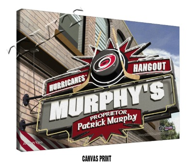 Personalized Carolina Hurricanes NHL Sports Room Pub Sign - Canvas Mounted Print