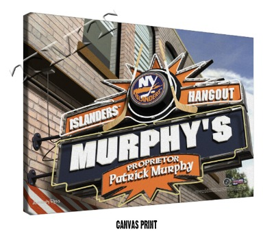Personalized New York Islanders NHL Sports Room Pub Sign - Canvas Mounted Print