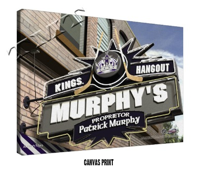 Personalized Los Angeles Kings NHL Sports Room Pub Sign - Canvas Mounted Print