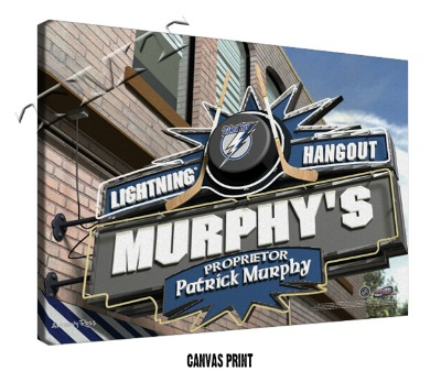 Personalized Tampa Bay Lightning NHL Sports Room Pub Sign - Canvas Mounted Print
