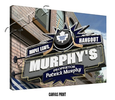 Personalized Toronto Maple Leafs NHL Sports Room Pub Sign - Canvas Mounted Print