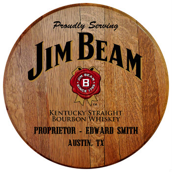 Personalized Jim Beam Barrel Head Sign with Name and City, State abbreviation