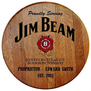 Personalized Jim Beam Barrel Head Sign with Established Date (EST. 2015)