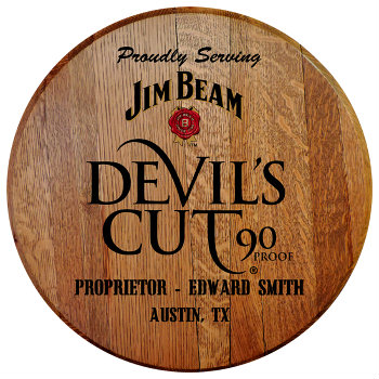 Personalized Devils Cut Barrel Head Sign with Name and City, State abbreviation