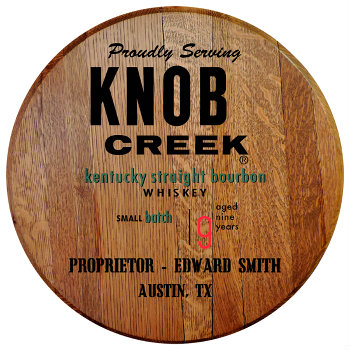 Personalized Knob Creek Barrel Head Sign with Name and City, State abbreviation