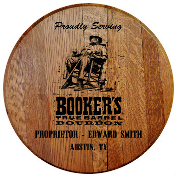 Personalized Bookers Barrel Head Sign with Name and City, State abbreviation