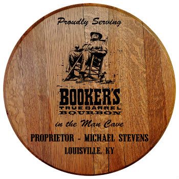 Personalized Bookers Barrel Head Sign - Man Cave version with Name and City, State abbreviation