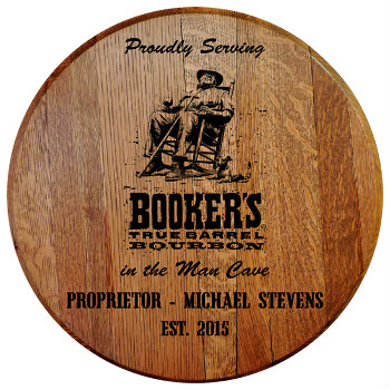 Personalized Bookers Barrel Head Sign - Man Cave version with Established Date (EST. 2015)