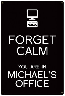Personalized Forget Calm Metal Sign - Office - Black