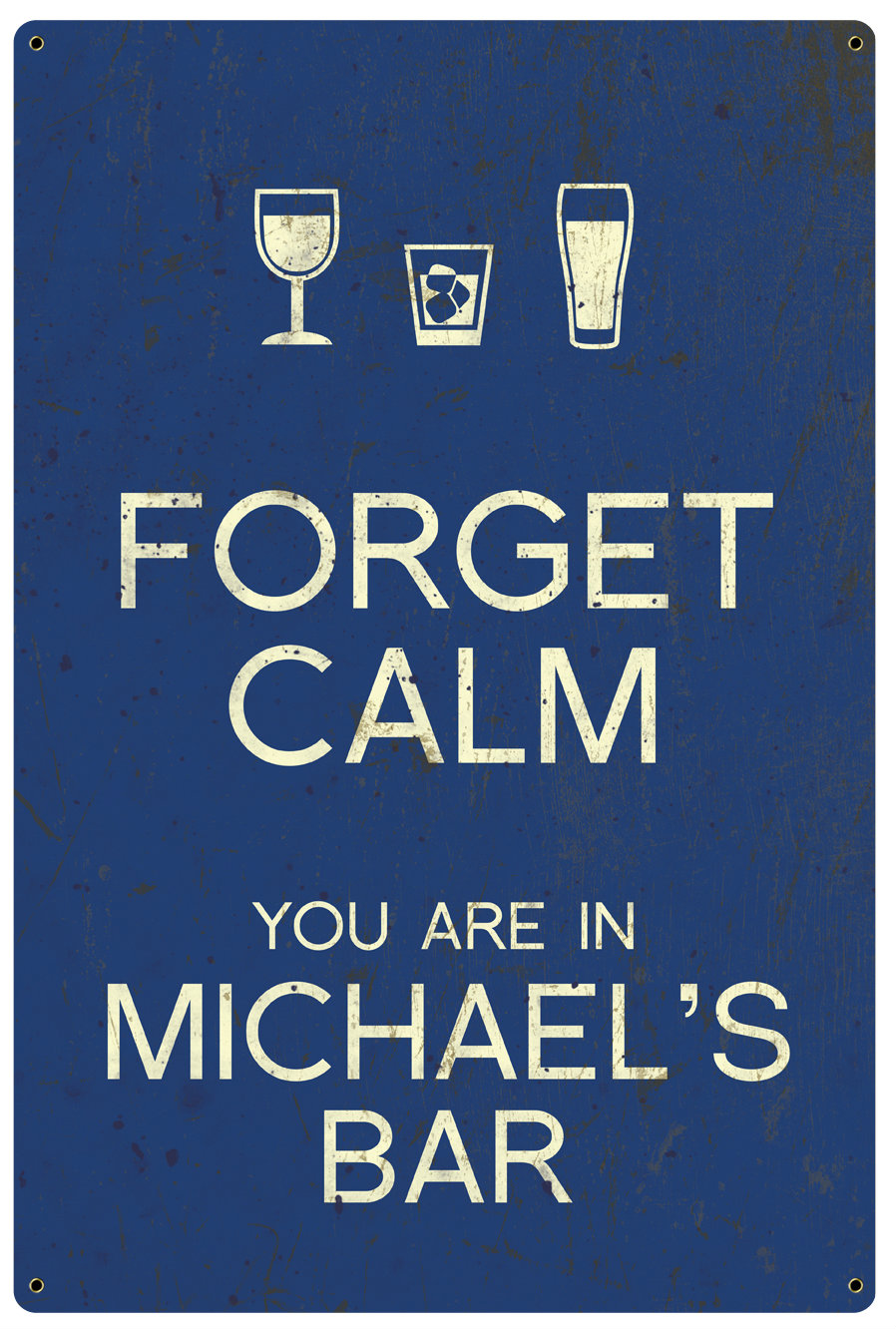 Personalized Forget Calm Vintage Metal Sign - Bar - Blue