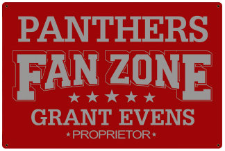 Personalized Fan Zone Sign - Red with Gray text (writing)