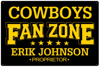 Personalized Fan Zone Sign - Black with Yellow text (writing)