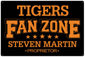Personalized Fan Zone Sign - Black with Orange text (writing)