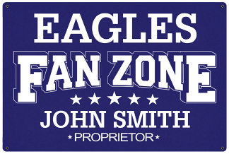 Personalized Fan Zone Sign - Purple with White text (writing)