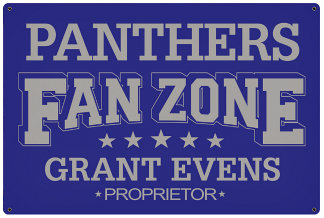 Personalized Fan Zone Sign - Purple with Gray text (writing)