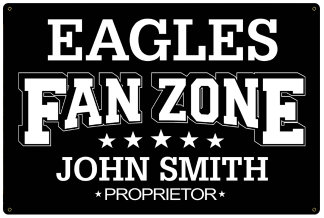 Personalized Fan Zone Sign - Black with White text (writing)