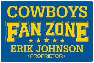 Personalized Fan Zone Sign -Light Blue with Yellow text (writing)