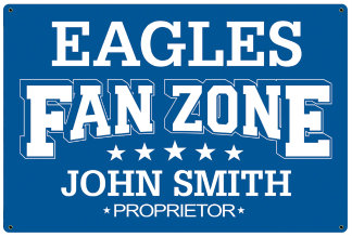 Personalized Fan Zone Sign - Light Blue with White text (writing)