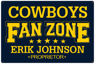 Personalized Fan Zone Sign - Navy Blue with Yellow text (writing)