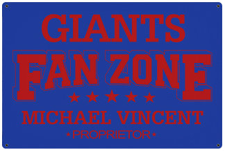 Personalized Fan Zone Sign - Royal Blue with Red text (writing)