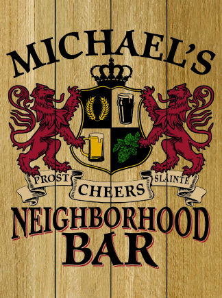 Natural Background - Personalized Neighborhood Bar Planked Wood Sign - Lions Crest (as shown)
