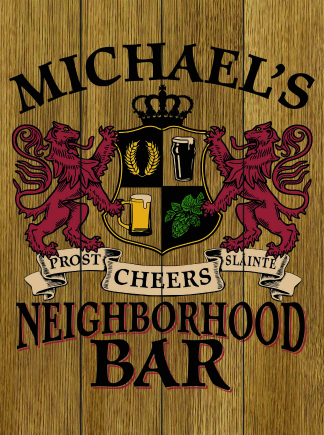 Stained Background - Personalized Neighborhood Bar Planked Wood Sign - Lions Crest