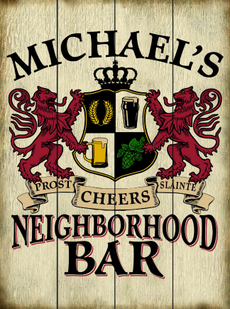 Weathered Background - Personalized Neighborhood Bar Planked Wood Sign - Lions Crest