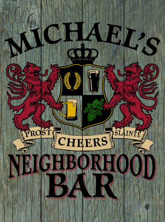 Barnwood Background - Personalized Neighborhood Bar Planked Wood Sign - Lions Crest